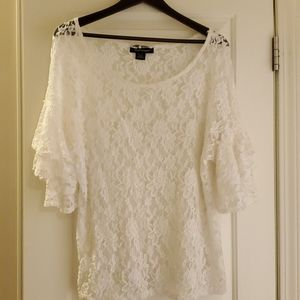 Sexy white lace top with double tier sleeves!